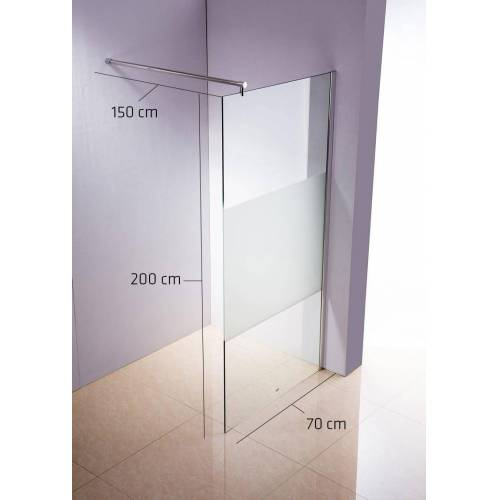 CLP Duschabtrennung Rund-klarglas/milchglas-70x200x150 cm