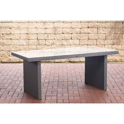 CLP Polyrattan Tisch Avignon-grau/flach-180 cm