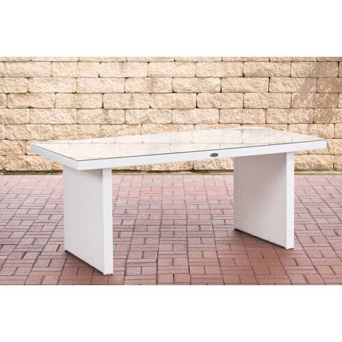 CLP Polyrattan Tisch Avignon-weiß/flach-180 cm