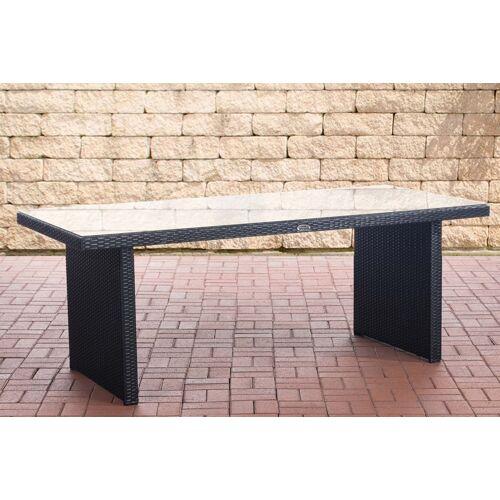 CLP Polyrattan Tisch Avignon-schwarz/flach-200 cm