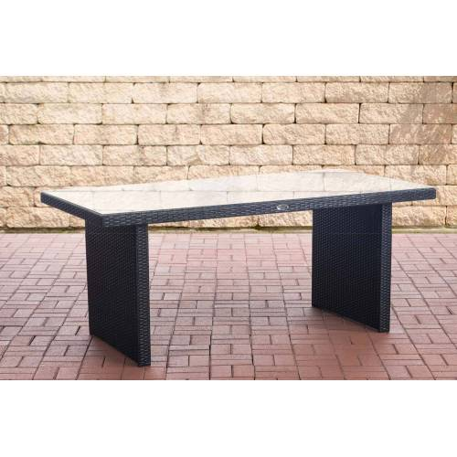 CLP Polyrattan Tisch Avignon-schwarz/flach-180 cm