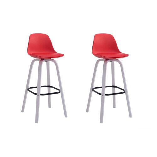 CLP 2er Set Barhocker Avika Kunststoff-rot-Weiß