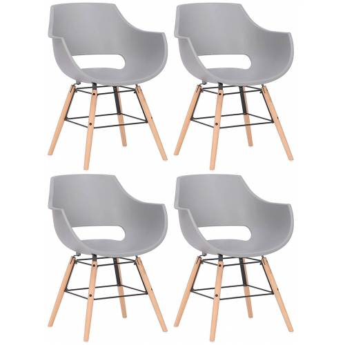 CLP 4er Set Stuhl Skien Kunststoff-grau-Natura