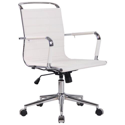 CLP Bürostuhl Barton-weiß-Echtleder