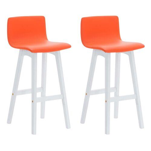 CLP 2er Set Barhocker Taunus Kunstleder-orange-Weiß