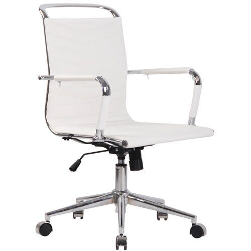 CLP Bürostuhl Burnley-weiß-Echtleder