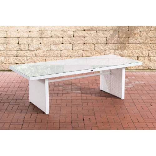 CLP Polyrattan Tisch Avignon-weiß/flach-220 cm