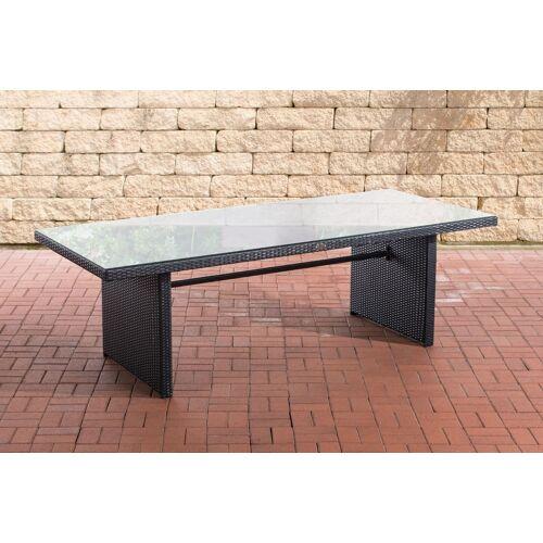 CLP Polyrattan Tisch Avignon-schwarz/flach-220 cm