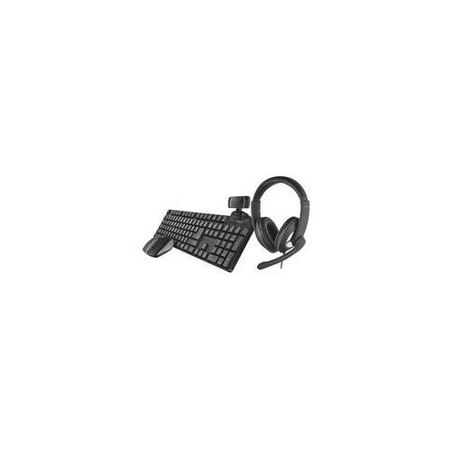 Trust Home Office SET Wireless Tastatur Maus Webcam Headset 4in1 Büro