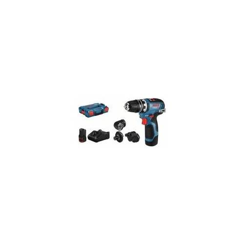 Bosch Akku-Bohrschrauber GSR 12V-35 FC mit 2 x 3,0 Ah Li-Ion Akku 4 Aufsätze L-BOXX