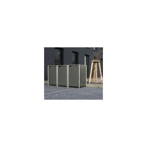 HIDE Hide Mülltonnenbox 140l Kunststoff; 3er Box,grau,