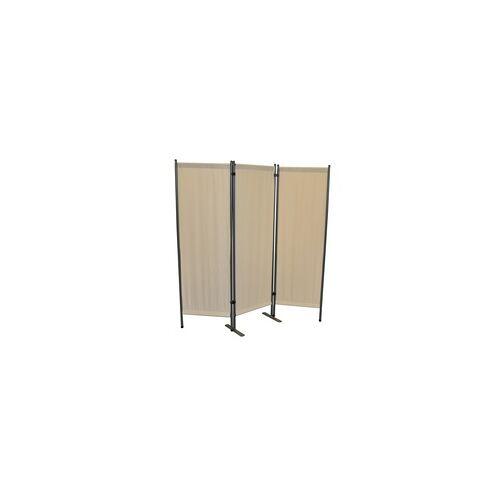 Leco Paravent, Trennwand und Sichtschutz für Balkon und Garten, 3-teilig,beige,150 x 165 cm (L x H)