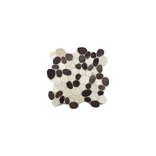 KNG Marmor-Kieselmosaik creme 30,0 x 30,0 x 1,0 cm, R10 C, creme weiß/grau