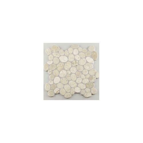 KNG Marmor-Kieselmosaik cremeweiß 30,0 x 30,0 x 1,0 cm, R10 C, cremeweiß