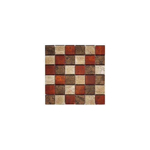 KNG Glasmosaik 29,8 x 29,8 x 0,8 cm, rot/braun/gold