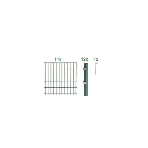 GAH Alberts Doppelstabmatten-Grundset 22 m 200 x 100 cm, Type: 6/5/6, grün