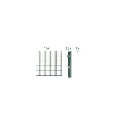GAH Alberts Doppelstabmatten-Grundset 30 m 200 x 120 cm, Type: 6/5/6, grün