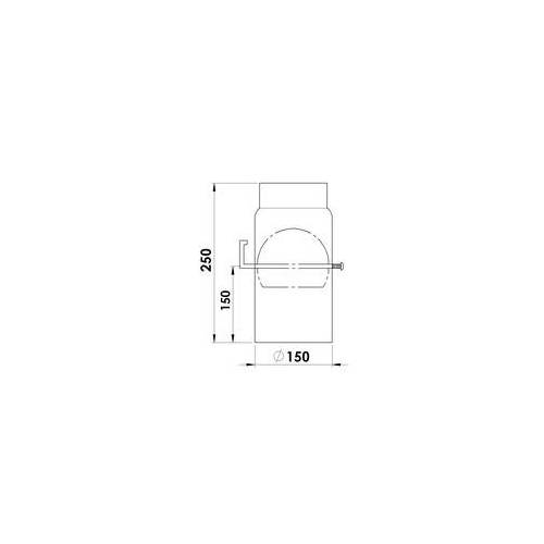 FireFix Ofenrohr Ø 150 mm, 25 cm, mit Drosselklappe, schwarz