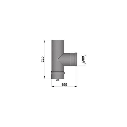FireFix Pelletofenrohr Anschluss-T-Stück Ø 80 mm, schwarz