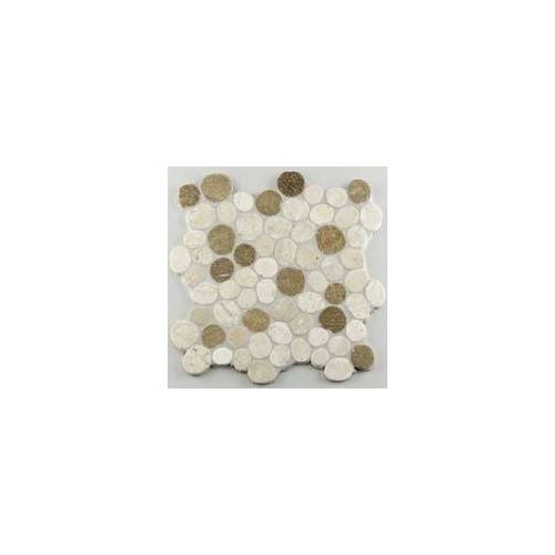 KNG Marmor-Kieselmosaik 30 x 30 x 1 cm, R10 C, weiß-beige