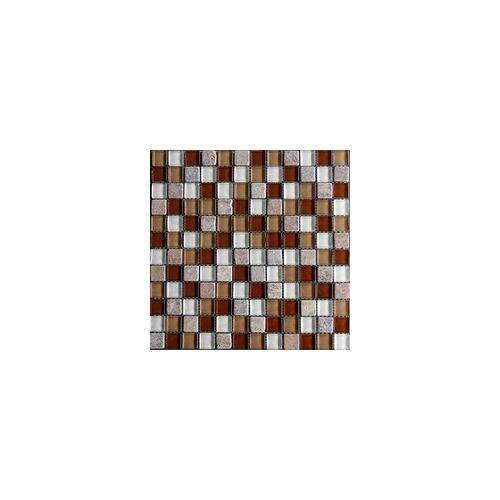 KNG Mosaikfliese Glas Rustica 29,8 x 29,8 x 0,8 cm, rot-braun-beige mix