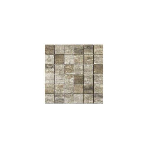 KNG Feinsteinzeug Mosaikfliese Holzoptik 29,8 x 29,8 x 1 cm, Abr. 4, R10 B, Holzoptik, antik-grau