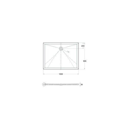 Ottofond Duschwanne Memphis 100 x 90 x 3,5 cm, weiß