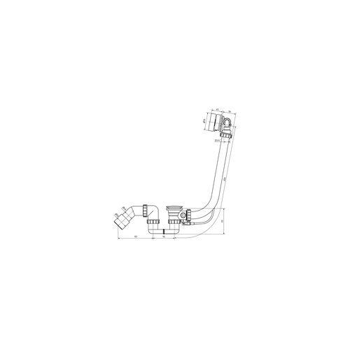 Ottofond Ab- und Überlaufgarnitur für Badewannen, mit Excentergarnitur, mit Wassereinlauf