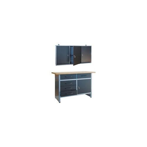 TrendLine Werkstatt-Set Werkbank und -schrank, Stahlblech, grau