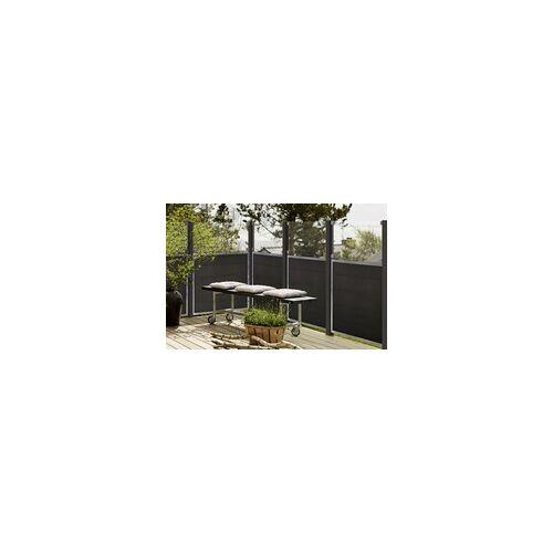 Plus Zaunelement Futura mit Glas 180 x 180 cm, WPC Planken / Stahl / Glas