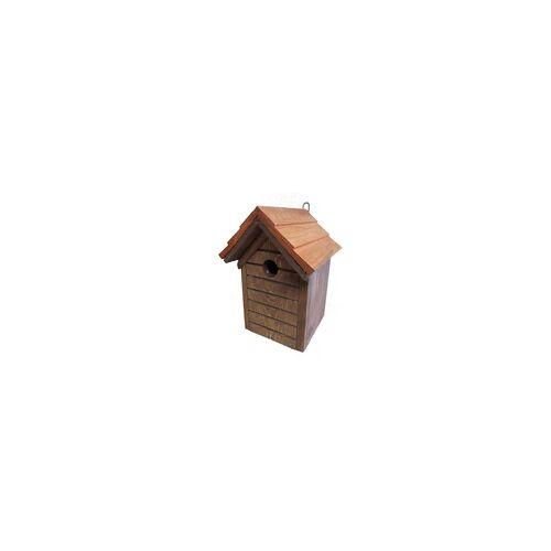 weitere Nistkasten braun mit Schindelholzdach und Reinigungsklappe Einflugloch Ø 3 cm