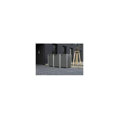 Hide Mülltonnenverkleidung; für 3 Mülltonnen 140 l Volumen, grau 63,4x181,2x115,2 cm