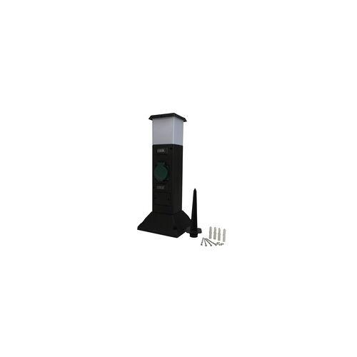 uniTEC Elektro Unitec Gartensteckdose mit Lampe 2 Steckdosen, ohne Kabel