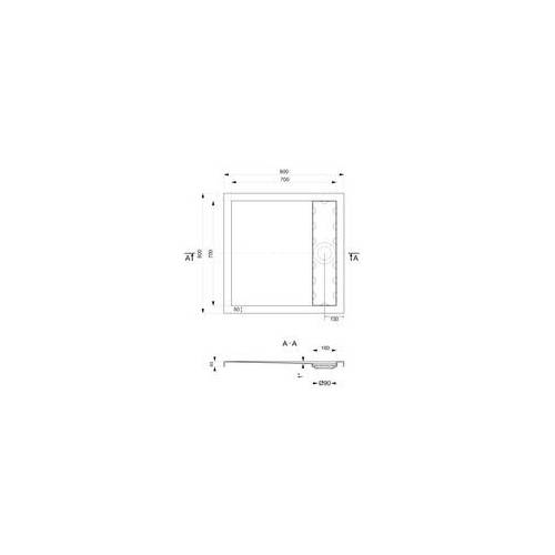 Ottofond Duschwanne mit Ablaufrinne 80 x 80 cm, weiß