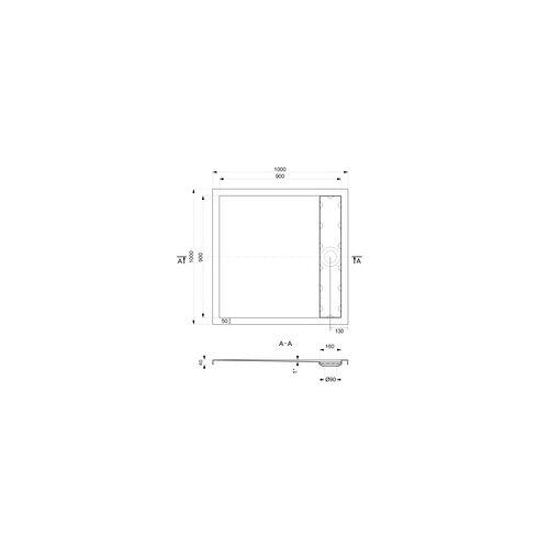 Ottofond Duschwanne mit Ablaufrinne 100 x 100 cm, weiß