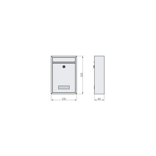 Basi Briefkasten BK 100 320 x 215 x 82 mm, Edelstahl
