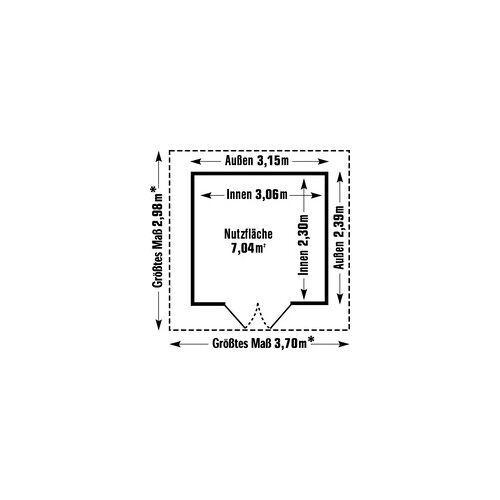 Grosfillex Gartenhaus Deco H 7,5 370 x 298 cm (inkl. Dachüberstand)