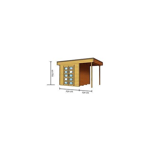 SKANHOLZ SKAN HOLZ Flachdachhaus / Blockbohlenhaus / Gartenhaus / Gartenlaube Venlo 2 250 x 250 cm mit 130 cm seitlicher Überdachung, 28 mm Blockbohlen