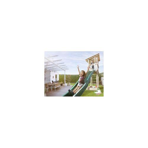 Weka Spielturm Tabaluga 100 x 82 x 299 cm, natur, mit Pultdach, Rutsche & Sandkasten