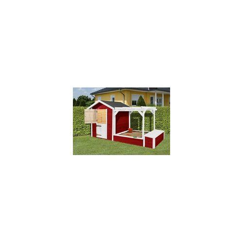 Weka Spielhaus 818 275 x 122 cm,mit Sandkasten, Pergola, Truhe
