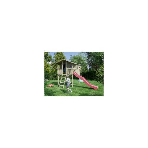 Belladoor Stelzenhaus Set 1 Crazy Leon inkl. 2,9 m Rutsche rot BxT: 226x240 cm, inkl. 2,9 m Rutsche rot