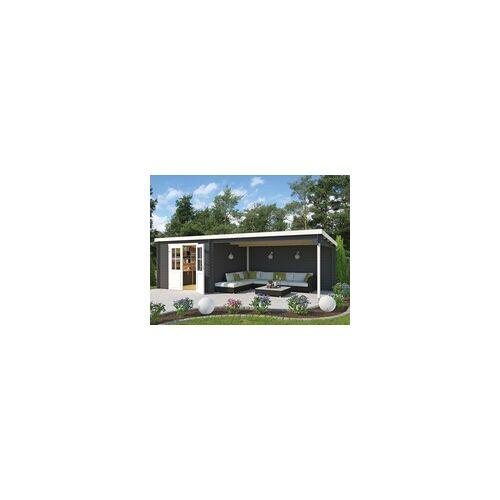 Lasita Maja Lasita Gartenhaus Blockbohlenhaus St. Louis 28 mm carbongrau BxTxH: 701x319x210,9 cm, Sockelmaß Haus: 292x292 cm, inkl. Anbaudach + Dachpappe