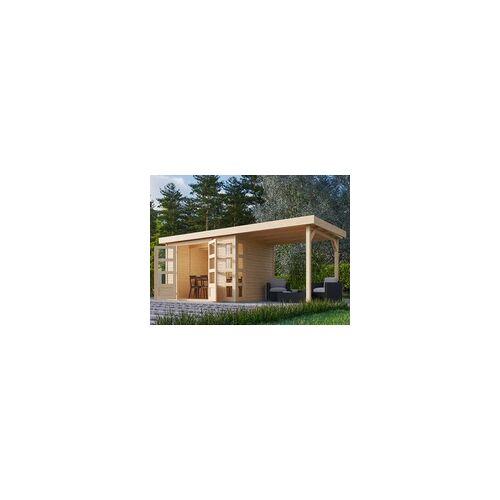 KARIBU WOODFEELING Gartenhaus SPARSET Kerko 4 19 mm naturbelassen inkl. Anbaudach BxTxH: 554x217x211 cm, Sockelmaß Haus: BxT: 298x213 cm, inkl. Anbaudach 2,4 m