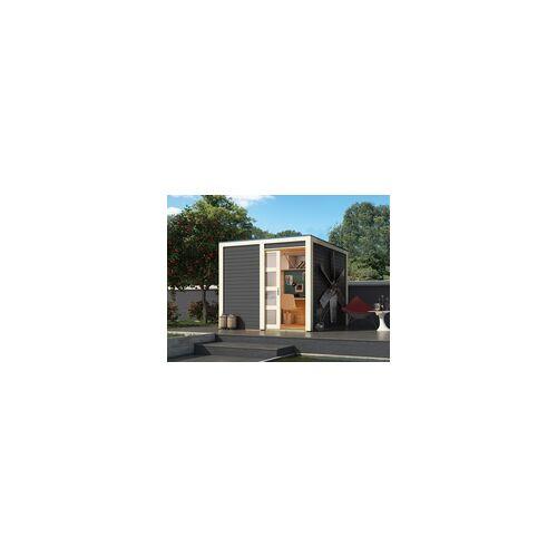 KARIBU Gartenhaus Cubino 19 mm terragrau BxTxH: 246x246x214 cm, Sockelmaß Haus: BxT: 242x242 cm