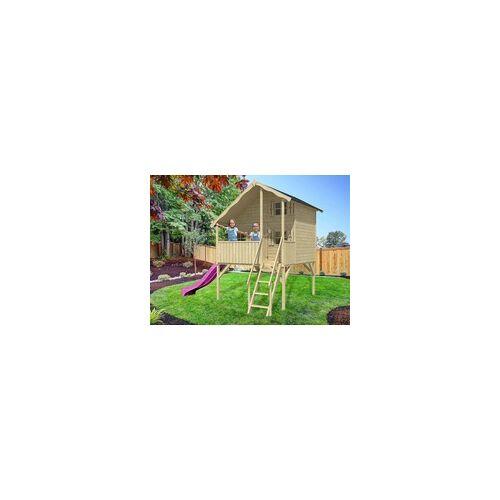 Belladoor Stelzenhaus Sparset Tom XL 15 mm naturbelassen inkl. Veranda, Stelzen und Rutsche pink BxTxH: 271x292x346 cm, inkl. Rutsche pink, inkl. Veranda + Stelzen