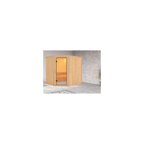 KARIBU Sauna Systemsauna Celine 1 BxTxH: 196x178x198 cm, Eckeinstieg, inkl. 2 Liegen