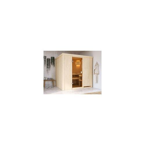 KARIBU Sauna Systemsauna SPARSET Celine 2 inkl. 6,8 kW Ofen mit ext. Steuerung BxT X H: 196x178x198 cm, inkl. 2 Liegen, inkl. 6,8 kW Saunaofen + ext. Steuerung