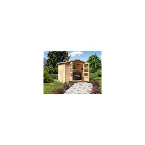 KARIBU WOODFEELING Gartenhaus Carlton 5 19 mm naturbelassen BxTxH: 337x266x217 cm, Sockelmaß Haus: 302x242 cm, Doppelflügeltür aus Kunstglas