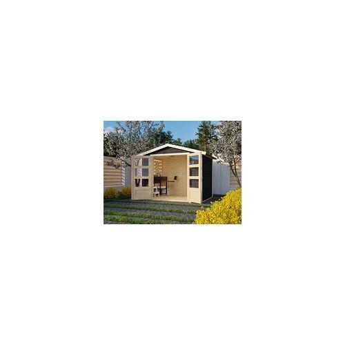 KARIBU WOODFEELING Gartenhaus Carlton 5 19 mm terragrau BxTxH: 337x266x217 cm, Sockelmaß Haus: 302x242 cm, Doppelflügeltür aus Kunstglas