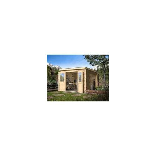 WOODTEX Gartenhaus Blockbohlenhaus CA2974 Atlanta 28 mm naturbelassen BxTxH: 298x259x203 cm, Doppeltür, inkl. Dachpappe